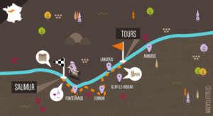 Loire à vélo Tours Saumur Abicyclette carte
