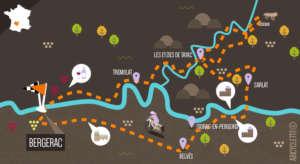 Carte itinéraire Périgord Abicyclette