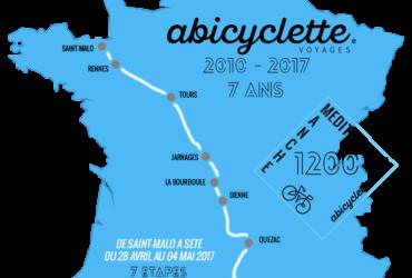 Carte itinéraire Manche Mediterranee 1200 Abicyclette