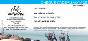 Chèque cadeau week-end à vélo Abicyclette Voyages