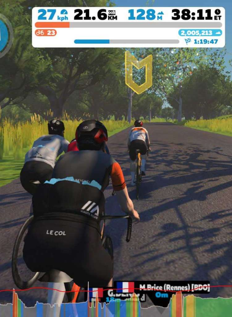 impression ecran zwift cyclistes jeux video