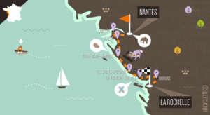 Carte de l'itinéraire vélo Nantes LA Rochelle