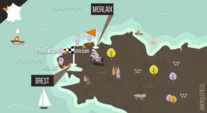 Carte Morlaix à Brest