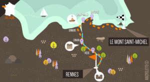 Carte itinéraire Rennes Mont Saint-Michel à vélo Abicyclette