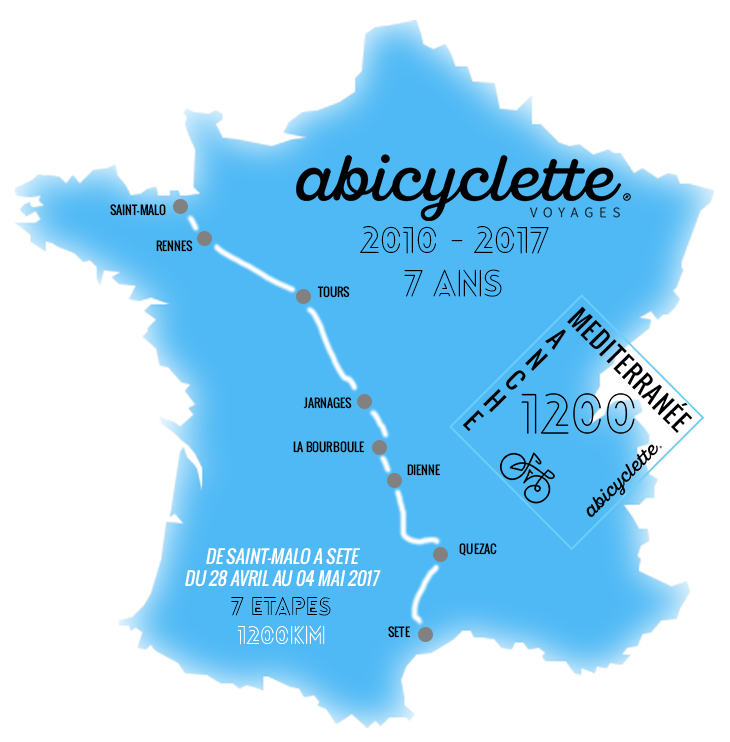 Map itinerary Manche Méditerrannée Travel with Abicyclette France