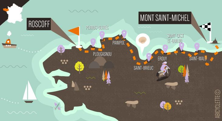 Carte itinéraire tour de manche à vélo du Mont Saint Michel à Roscoff