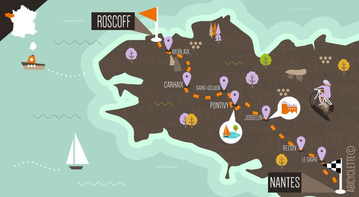 Carte itinéraire Vélodyssée de Roscoff à Nantes Vacances à vélo en Bretagne