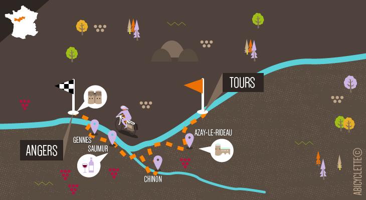 Carte du circuit Loire à vélo Tours Angers