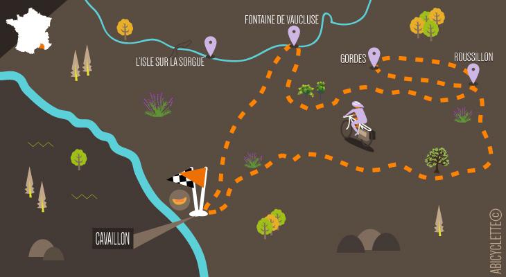 Carte itinéraire séjour à vélo Tour du Lubéron boucle depuis Cavaillon