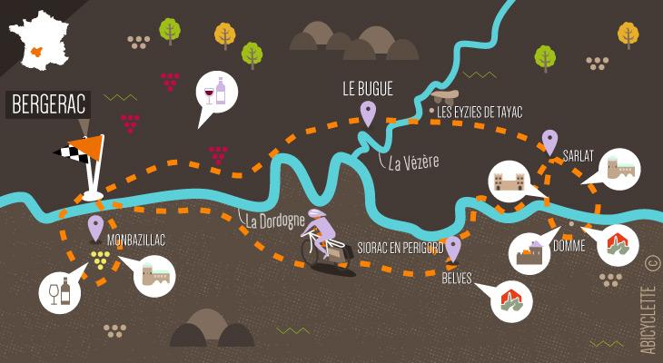 Carte séjour à vélo - Les couleurs du Périgord