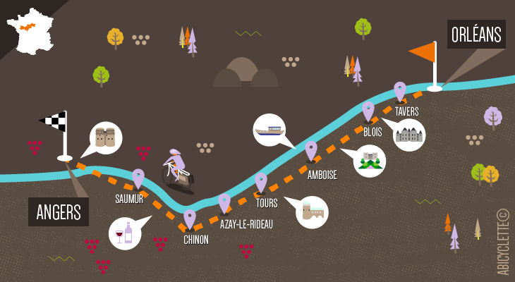 Carte itinéraire Loire à vélo Val de Loire : Patrimoine mondial