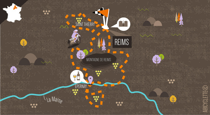 Carte itinéraire Le Tour de la Montagne de Reims Abicyclette Voyages à vélo
