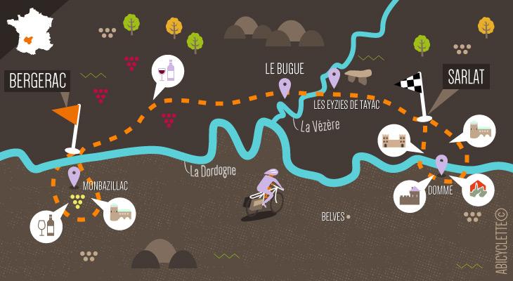 Carte itinéraire Dordogne vélo de Bergerac à Sarlat