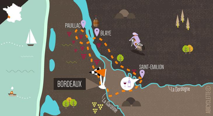 Carte séjour à vélo sur la route de vins de Bordeaux