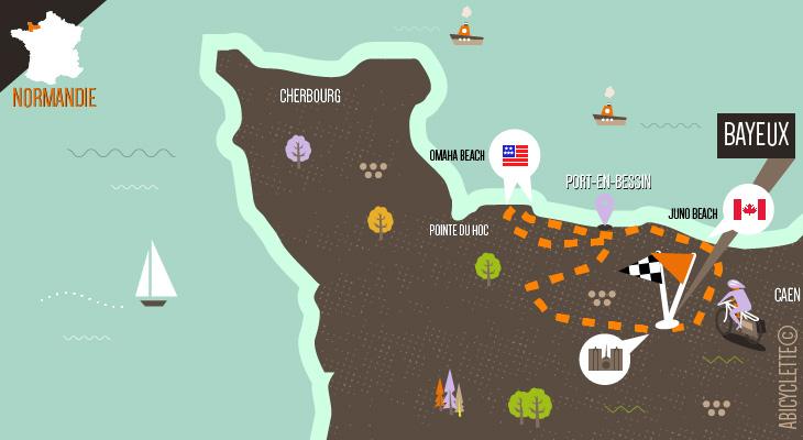 Carte itinéraire Bayeux et la Côte de Nacre