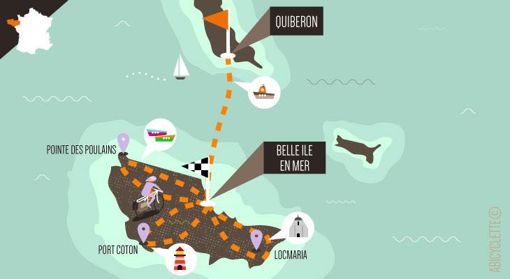 Carte séjour à vélo Belle-Île-en-Mer