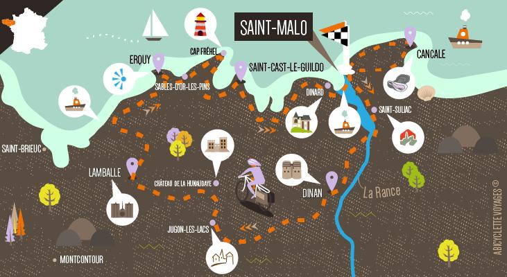 Carte itinéraire autour de St Malo vacances à vélo