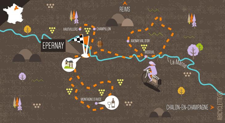 Carte itinéraire séjour à vélo - La méthode Champenoise