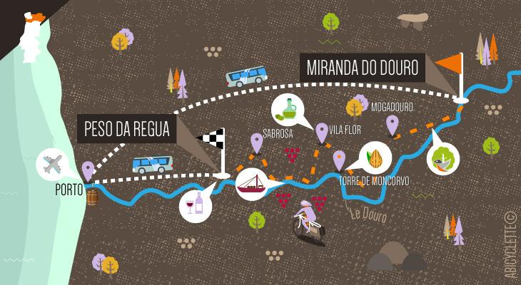 Carte itinéraire séjour à vélo La Vallée du Douro