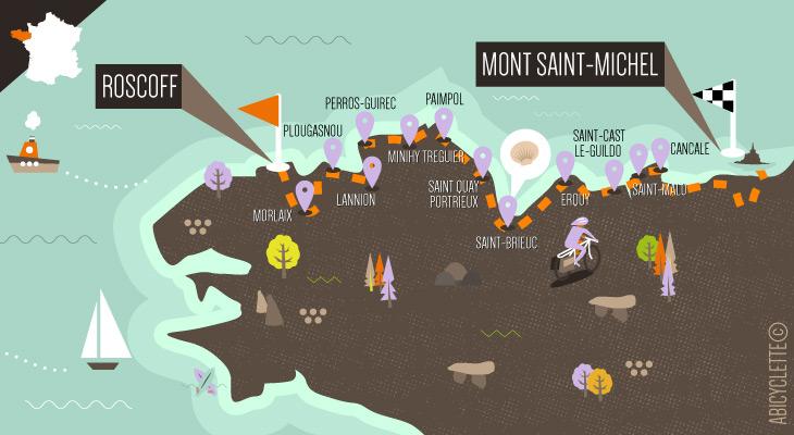 Carte du séjour à vélo Tour de Manche version facile