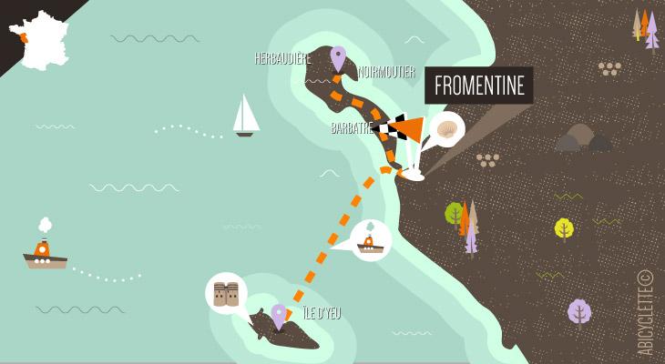 Carte Week-end à vélo sur les îles vendéennes