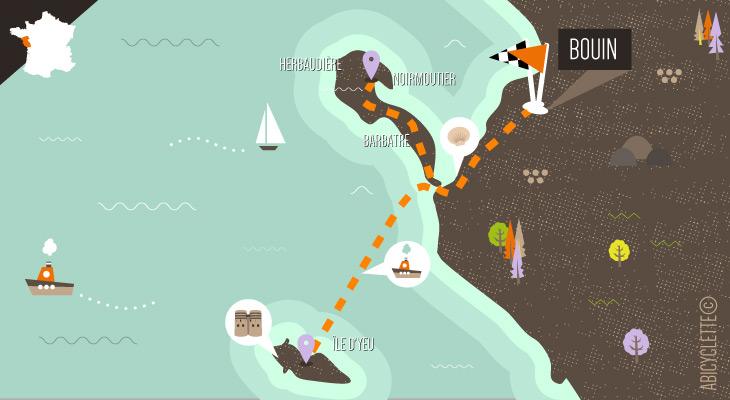 carte itinéraires iles vendéennes séjour à velo