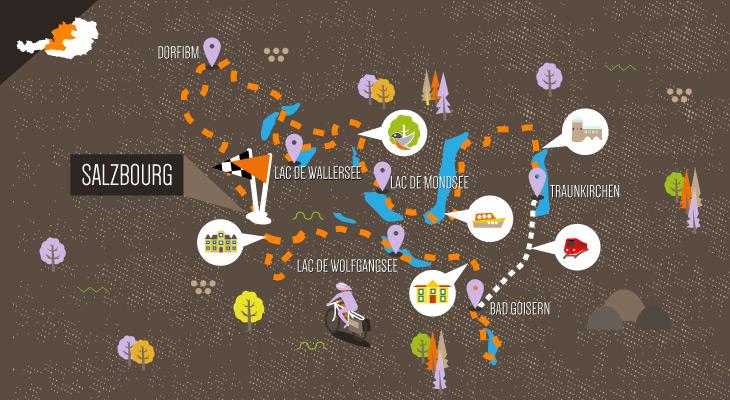 Carte itinéraire à vélo Salzbourg et le pays des lacs