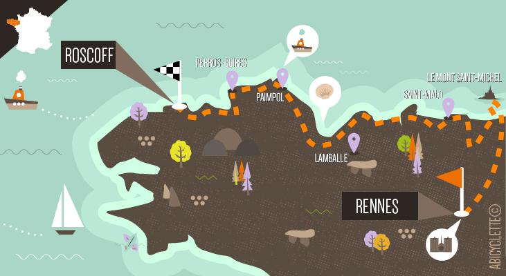 Carte itinéraire Rennes à Roscoff Grande Traversée à vélo de la Bretagne nord