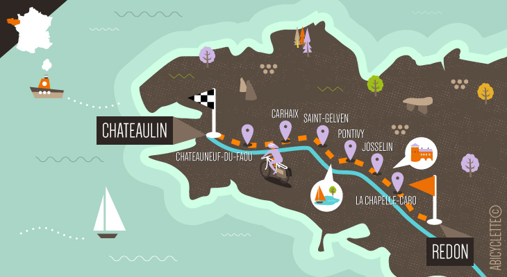 Carte itinéraire Le Canal de Nantes à Brest à vélo Abicyclette Voyages