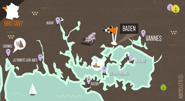 Carte séjour Golfe du Morbihan Abicyclette Voyages à vélo