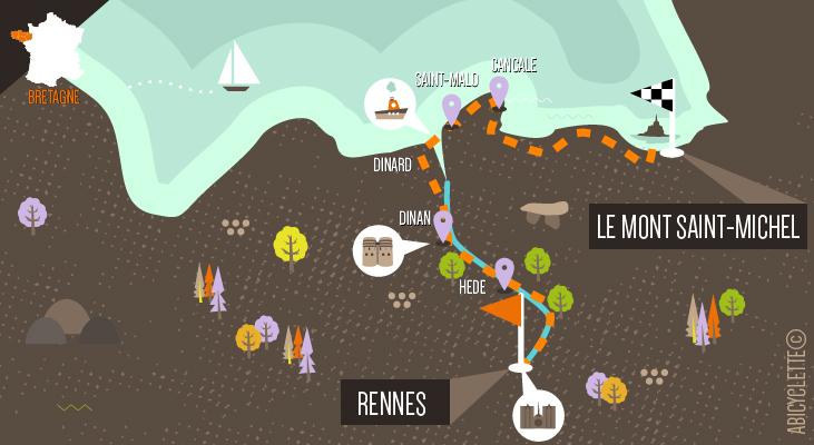Carte itinéraire Rennes au Mont Saint Michel à vélo Abicyclette Voyages à vélo
