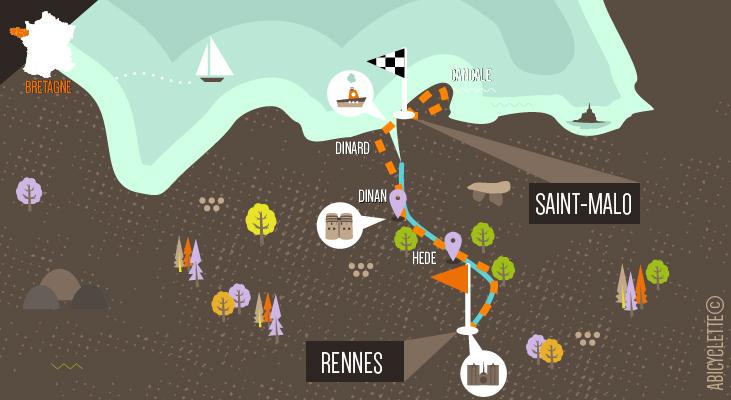 Carte itinéraire Le Canal d'Ille et Rance à vélo Abicyclette Voyages