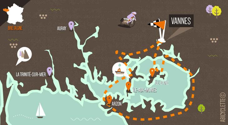 Carte itinéraire les iles du Golfe du Morbihan Abicyclette Voyages à vélo