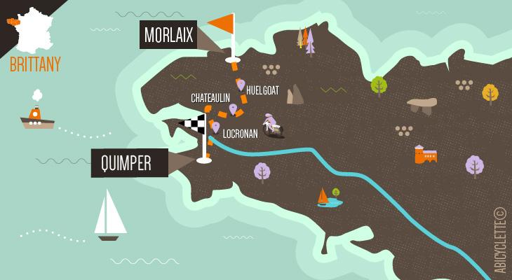 Carte itinéraire Manche Océan, à travers les Monts d'Arrée