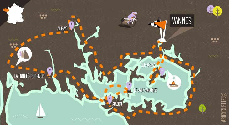 Carte itinéraire Le Tour du Golfe du Morbihan