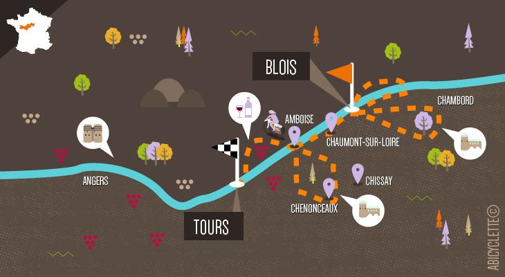 Carte itinéraire La Vallée des rois de Blois à Tours