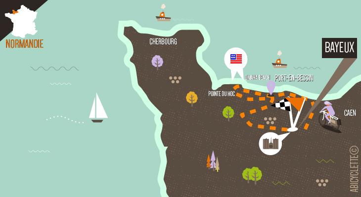 Carte itinéraire Bayeux et la Côte de Nacre Abicyclette Voyages à vélo