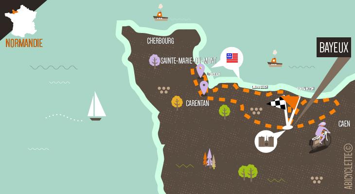 Carte itinéraire Plages du débarquement à vélo autour de Bayeux