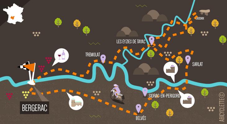 Carte itinéraire la vallé de la Dordogne à vélo