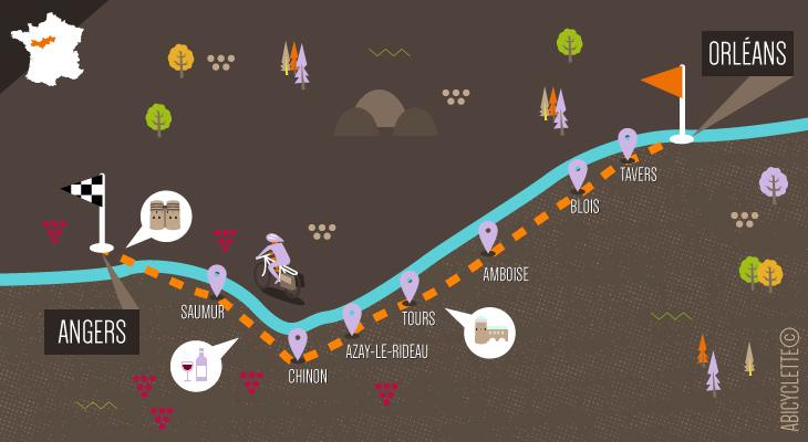 Carte itinéraire Loire à vélo Val de Loire : Patrimoine mondial Abicyclette Voyages à vélo
