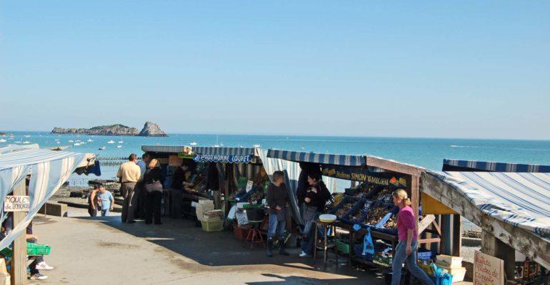 Etals d'huitres le long de la mer Le Tour de Manche - sportif Abicyclette Voyages à vélo