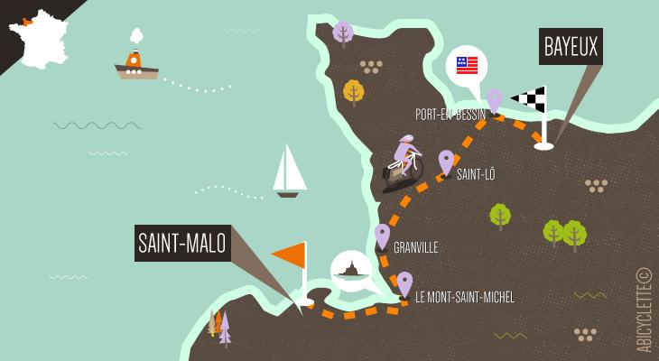 Carte itinéraire De Saint-Malo aux plages du débarquement Abicyclette Voyages à vélo