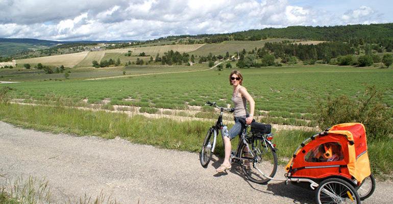 Femme sur son vélo avec une remorque pour enfant pose devant la campagne Le petit tour du Luberon Abicyclette Voyages à vélo