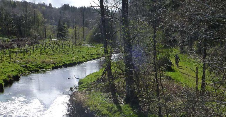 VTT sur un chemin longeant une rivière VTT A l'assaut des Monts d'Arrée Abicyclette Voyages à vélo