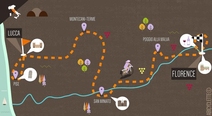Carte La Toscane classique à vélo de Lucca à Florence