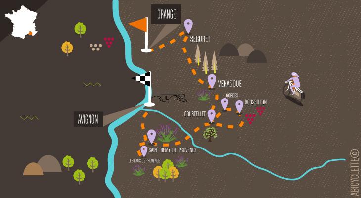 Carte itinéraire vacances en Provence à vélo d'Orange à Avignon