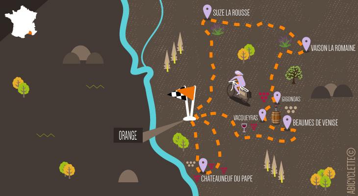 Carte itinéraire vacances à vélo boucle au départ d'Orange