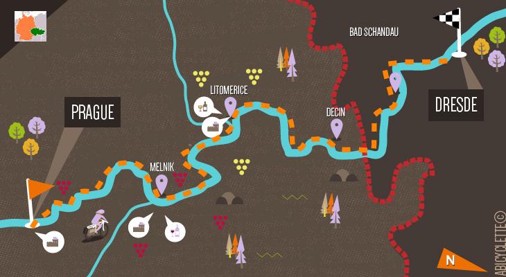 Carte itinéraire vacances à vélo en République Tchèque