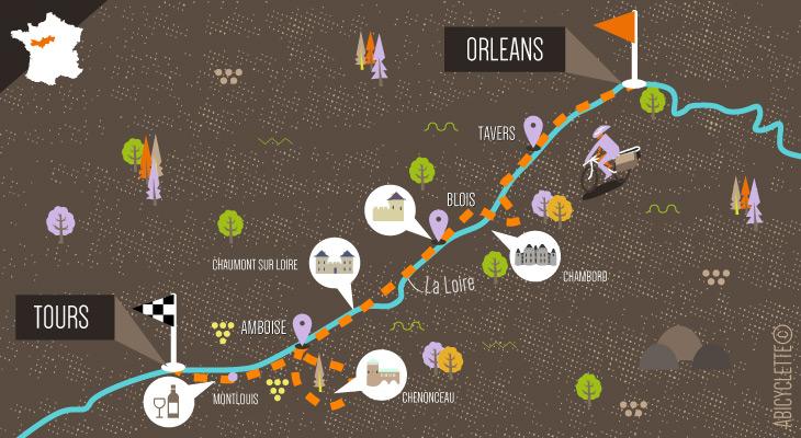 Carte séjour loire à vélo Orleans à Tours