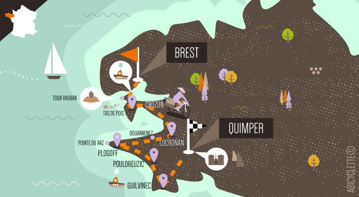 Carte La Bretagne à vélo